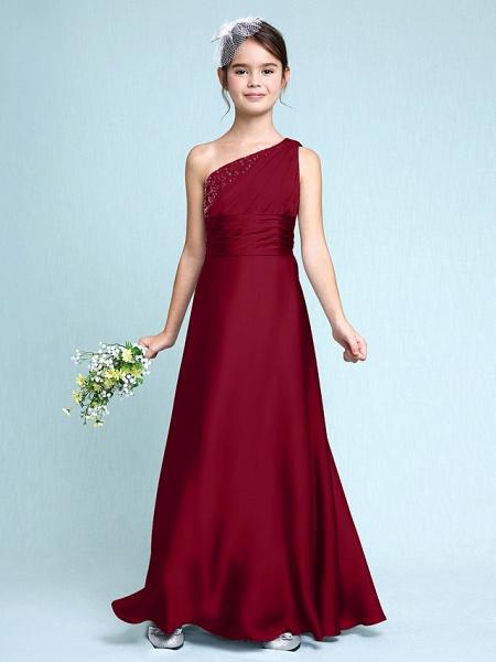 Sheath / Column One Shoulder Floor Length Chiffon Satin Junior Bridesmaid Dress With Ruched / Side Draping / Natural_16