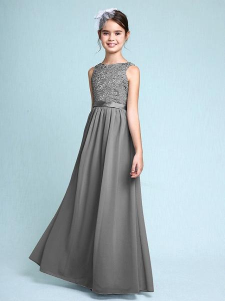 Sheath / Column Bateau Neck Floor Length Chiffon / Lace Junior Bridesmaid Dress With Lace / Natural_26