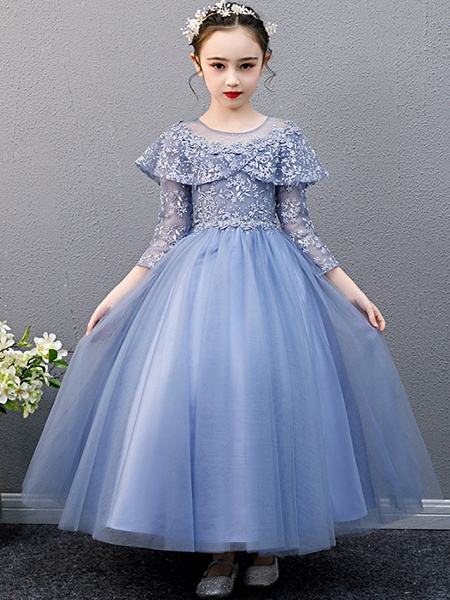 A-Line Ankle Length Christmas / Birthday Flower Girl Dresses - Lace Sleeveless Jewel Neck With Beading_1