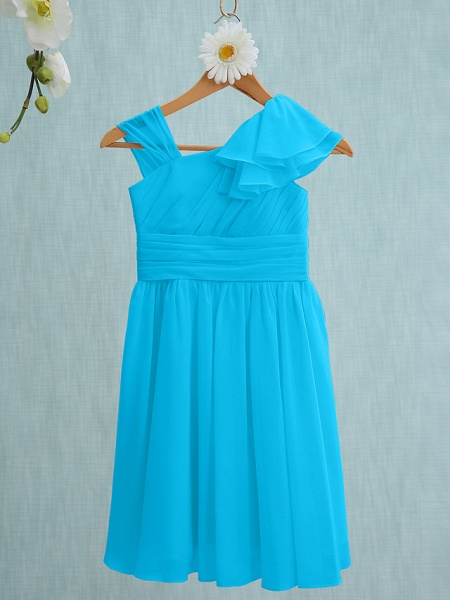 Sheath / Column Straps Knee Length Chiffon Junior Bridesmaid Dress With Ruffles / Side Draping / Natural_31