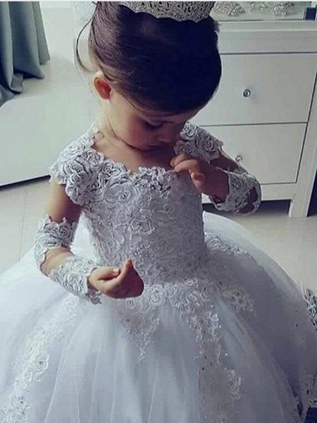 Ball Gown Floor Length Wedding Flower Girl Dresses - Lace Long Sleeve Jewel Neck With Appliques / Solid_2