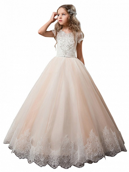 Princess Floor Length Wedding / Birthday / First Communion Flower Girl Dresses - Cotton / Nylon With A Hint Of Stretch / Lace / Tulle Short Sleeve Jewel Neck With Lace / Crystals / Rhinestones_6