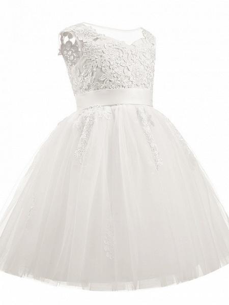 Princess Short Length Christmas / Birthday / First Communion Flower Girl Dresses - Taffeta / Tulle / Cotton Sleeveless Scoop Neck With Sash / Ribbon / Appliques_2
