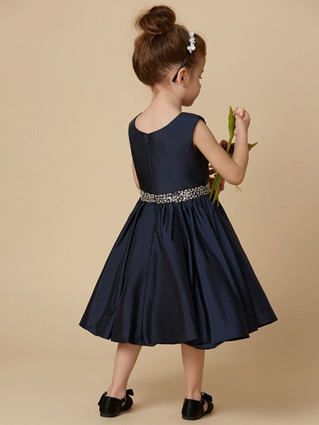 A-Line Knee Length Pageant Flower Girl Dresses - Taffeta Sleeveless Jewel Neck With Beading / Crystal Brooch_2