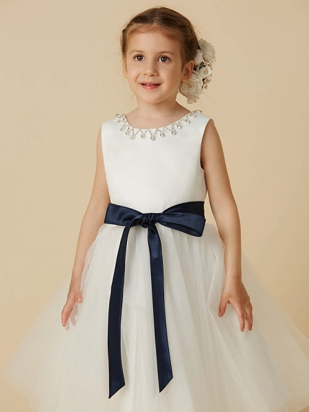 Princess Tea Length Wedding / First Communion Flower Girl Dresses - Satin / Tulle Sleeveless Jewel Neck With Sash / Ribbon / Beading_4