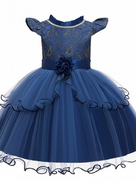 Princess / Ball Gown Knee Length Wedding / Party Flower Girl Dresses - Tulle Cap Sleeve Jewel Neck With Sash / Ribbon / Embroidery / Flower_5