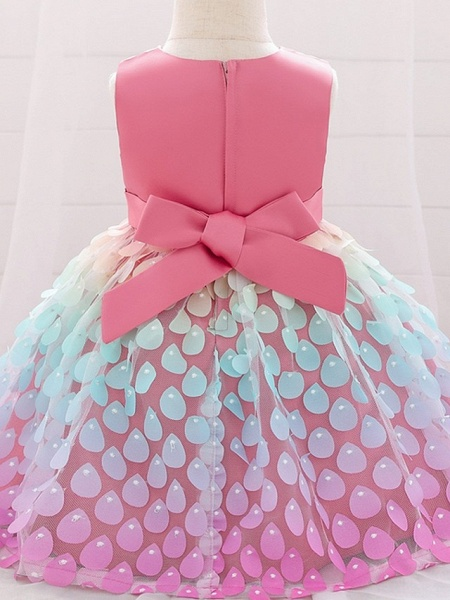 Princess / Ball Gown Knee Length Wedding / Party Flower Girl Dresses - Satin / Tulle Sleeveless Jewel Neck With Sash / Ribbon / Bow(S)_2