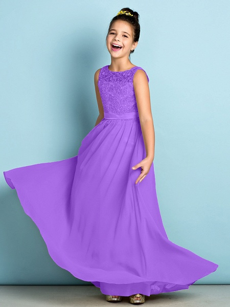 A-Line Scoop Neck Floor Length Chiffon / Lace Junior Bridesmaid Dress With Lace / Natural / Mini Me_31