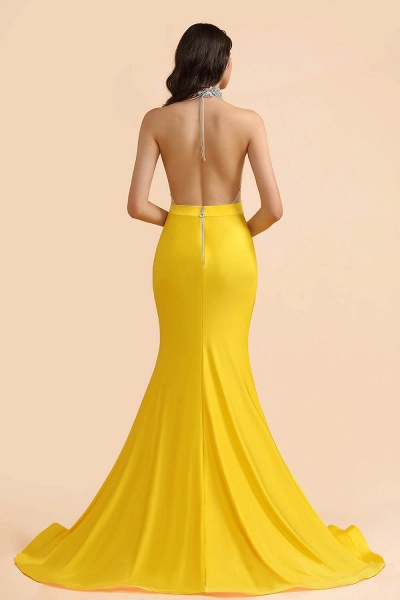 Mermaid Sexy Yellow Crystals Sheer Tulle Prom Dresses_2