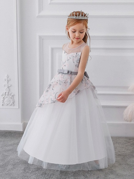 Princess / Ball Gown Floor Length Wedding / Party Flower Girl Dresses - Tulle Sleeveless Illusion Neck With Sash / Ribbon / Bow(S) / Embroidery_4