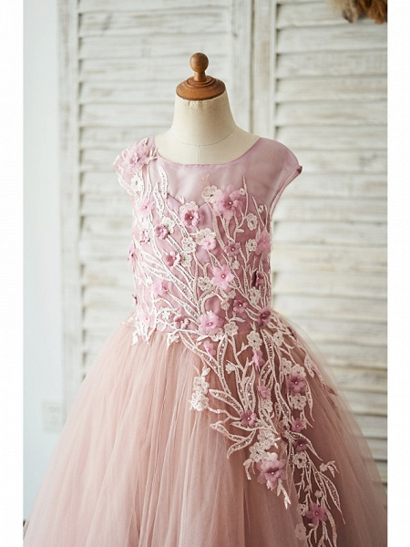 Ball Gown Floor Length Wedding / Birthday Flower Girl Dresses - Lace / Tulle Sleeveless Jewel Neck With Lace / Pearls / Flower_3