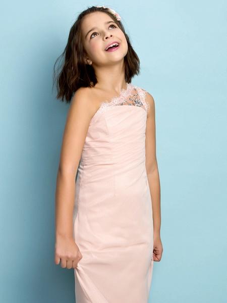 Princess One Shoulder Floor Length Chiffon Junior Bridesmaid Dress With Crystals / Side Draping / Natural / Mini Me_6