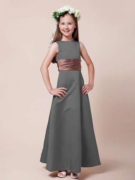 Princess / A-Line Bateau Neck Floor Length Satin Junior Bridesmaid Dress With Sash / Ribbon / Ruched / Spring / Summer / Fall / Winter / Apple_22