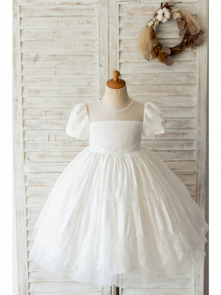 Ball Gown Knee Length Wedding / Birthday Flower Girl Dresses - Lace Short Sleeve Jewel Neck With Beading_1