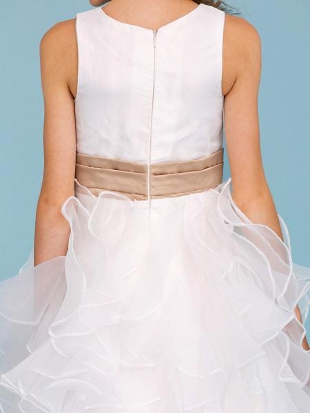 Princess / A-Line Jewel Neck Ankle Length Organza / Satin Junior Bridesmaid Dress With Sash / Ribbon / Cascading Ruffles / Wedding Party_9