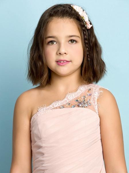 Princess One Shoulder Floor Length Chiffon Junior Bridesmaid Dress With Crystals / Side Draping / Natural / Mini Me_9