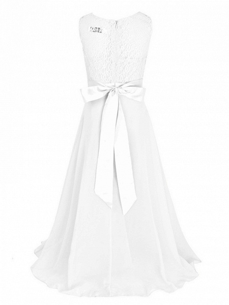 Princess / Ball Gown Maxi Party / Formal Evening / Pageant Flower Girl Dresses - Tulle / Poly&Cotton Blend Sleeveless Jewel Neck With Lace / Solid_6