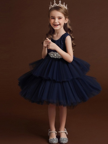 Princess / Ball Gown Asymmetrical Wedding / Party Flower Girl Dresses - Lace / Tulle Sleeveless Jewel Neck With Belt / Bow(S) / Tier_6