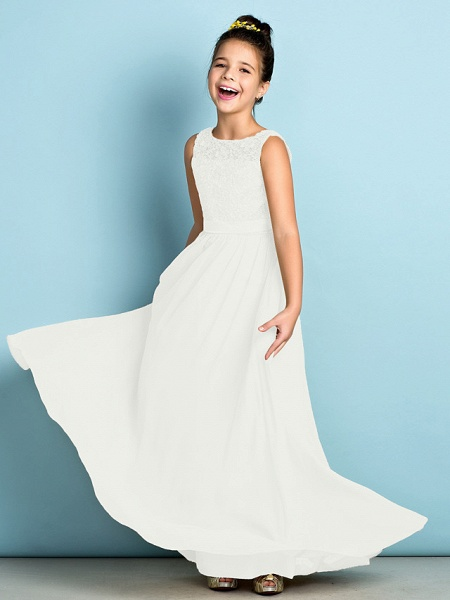 A-Line Scoop Neck Floor Length Chiffon / Lace Junior Bridesmaid Dress With Lace / Natural / Mini Me_21