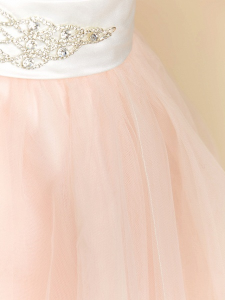 Ball Gown Tea Length Wedding / Party / Pageant Flower Girl Dresses - Satin / Tulle Sleeveless V Neck With Sash / Ribbon / Crystals_6