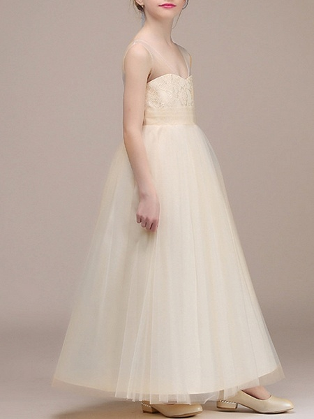 A-Line Ankle Length First Communion Flower Girl Dresses - Chiffon Sleeveless Plunging Neck With Ruching_2