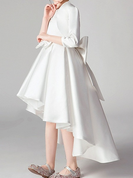 Two Piece Asymmetrical Polyester 3/4 Length Sleeve Jewel Neck With Bow(S) / Pleats_4