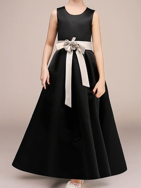 A-Line Ankle Length Pageant Flower Girl Dresses - Polyester Sleeveless Jewel Neck With Bow(S)_3