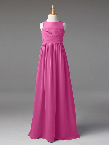 Princess / A-Line Jewel Neck Floor Length Chiffon Junior Bridesmaid Dress With Sash / Ribbon / Pleats_23