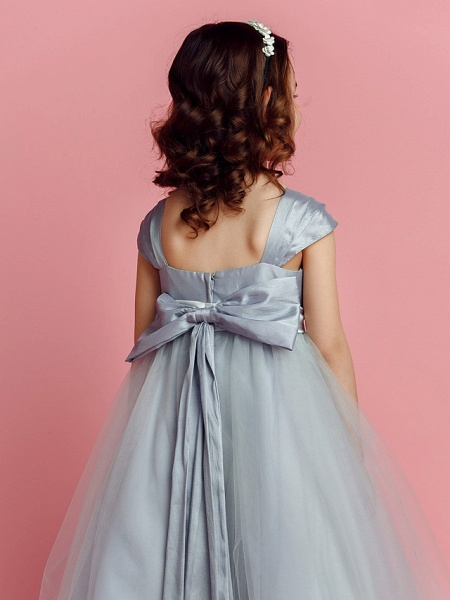 Ball Gown Floor Length Pageant Flower Girl Dresses - Taffeta / Tulle Short Sleeve Square Neck With Sash / Ribbon / Bow(S) / Spring / Summer / Fall_6