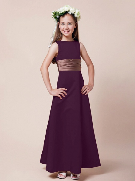 Princess / A-Line Bateau Neck Floor Length Satin Junior Bridesmaid Dress With Sash / Ribbon / Ruched / Spring / Summer / Fall / Winter / Apple_14