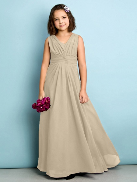 A-Line V Neck Floor Length Chiffon Junior Bridesmaid Dress With Criss Cross / Natural / Mini Me_20