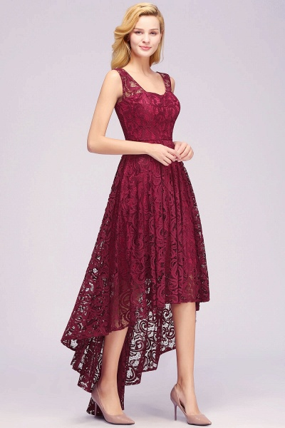 Elegant A-line Sleeveless Crew Hi-lo Lace Dress_7