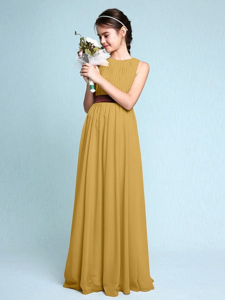 Sheath / Column Scoop Neck Floor Length Chiffon Junior Bridesmaid Dress With Draping / Natural_23