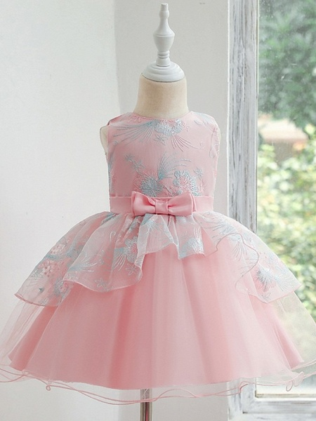 Princess / Ball Gown Knee Length Wedding / Party Flower Girl Dresses - Tulle Sleeveless Jewel Neck With Bow(S) / Tier_6
