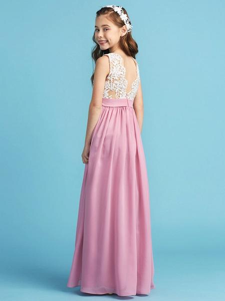 Princess / A-Line Queen Anne Floor Length Chiffon / Lace Junior Bridesmaid Dress With Lace / Sash / Ribbon / Pleats_2