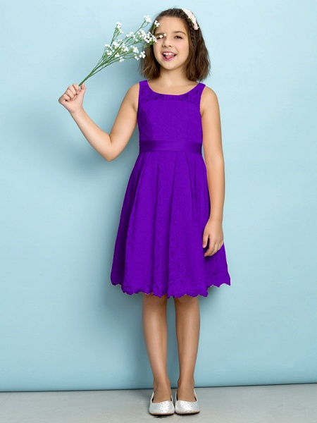 A-Line Scoop Neck Knee Length All Over Floral Lace Junior Bridesmaid Dress With Lace / Natural / Mini Me_36