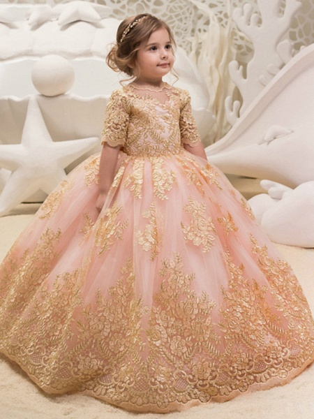 Princess / Ball Gown Floor Length Wedding / Party Flower Girl Dresses - Tulle Half Sleeve Jewel Neck With Bow(S) / Appliques_1