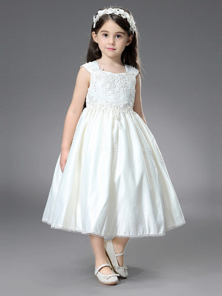 Princess / Ball Gown Ankle Length / Royal Length Train Wedding / First Communion Flower Girl Dresses - Satin Sleeveless Square Neck With Belt / Beading / Appliques_4