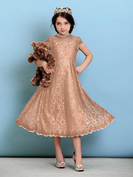 Princess / A-Line Jewel Neck Tea Length Lace Junior Bridesmaid Dress With Pleats / Natural_13