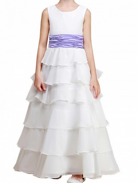 A-Line Floor Length Pageant Flower Girl Dresses - Polyester Sleeveless Jewel Neck With Ruching_5