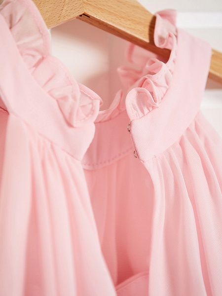 A-Line High Neck Floor Length Chiffon Junior Bridesmaid Dress With Ruffles / Ruching_7