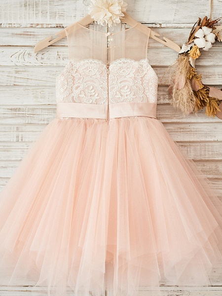 A-Line Ankle Length Wedding / Party Flower Girl Dresses - Lace / Tulle Sleeveless Jewel Neck With Sash / Ribbon / Crystals_2