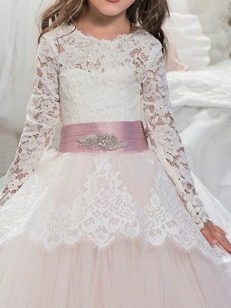 Ball Gown Floor Length Pageant Flower Girl Dresses - Polyester Long Sleeve Jewel Neck With Lace / Tier_4