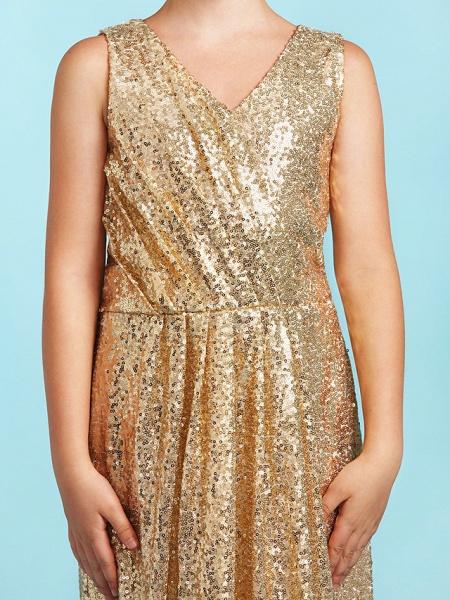 Princess / A-Line V Neck Floor Length Sequined Junior Bridesmaid Dress With Pleats / Sequin_7
