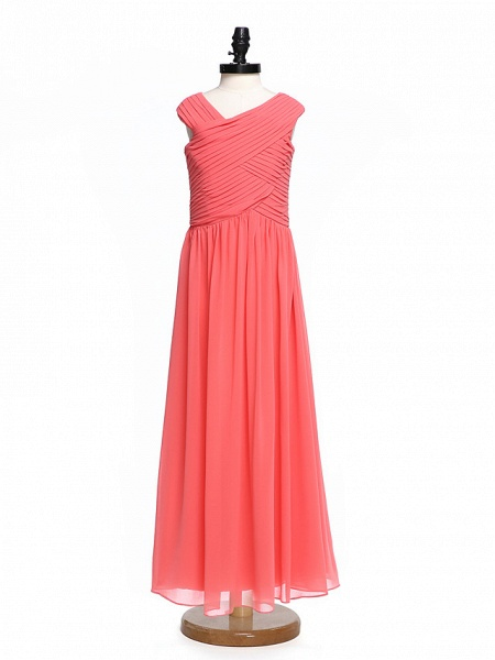 A-Line V Neck Floor Length Chiffon Junior Bridesmaid Dress With Criss Cross / Ruched / Natural_1