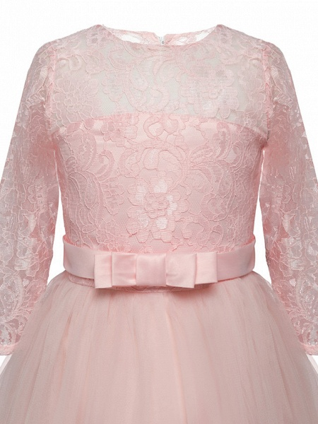 Princess Long Length Wedding / Party / Pageant Flower Girl Dresses - Lace / Tulle Half Sleeve Jewel Neck With Lace / Belt / Bow(S)_11