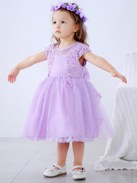 Ball Gown Medium Length Wedding / Party Flower Girl Dresses - Lace / Satin / Tulle Short Sleeve / Sleeveless Jewel Neck With Lace / Bow(S) / Appliques_3