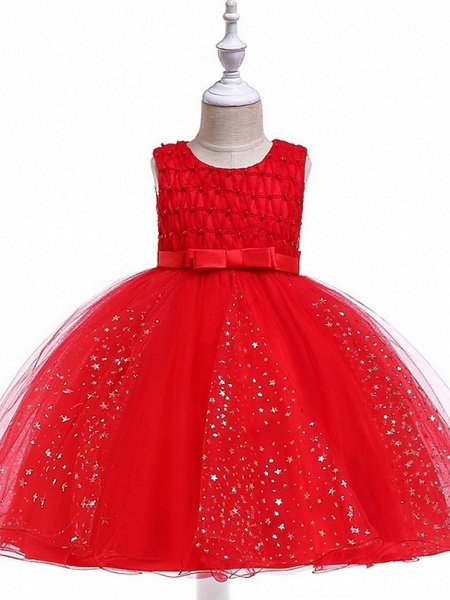 Princess / Ball Gown Knee Length Wedding / Party Flower Girl Dresses - Tulle Sleeveless Jewel Neck With Sash / Ribbon / Beading / Appliques_7