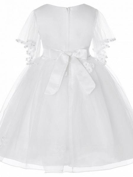 Princess Midi Wedding / Birthday Satin / Tulle Sleeveless Jewel Neck With Bow(S) / Pearls / Beading_10