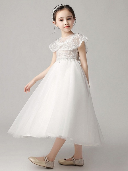 Princess Ankle Length Party / Pageant Flower Girl Dresses - Polyester Short Sleeve Jewel Neck With Lace_3